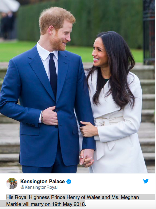 Official Announcement From Kensington Palace The Royal Wedding of Prince Harry and Ms. Meghan Markle