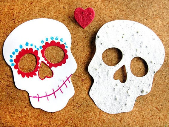 Seed paper plain sugar skulls to decorate
