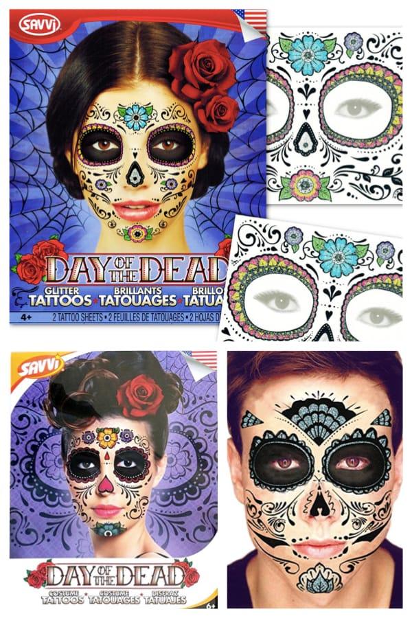 Sugar skull day of the dead face tattoo