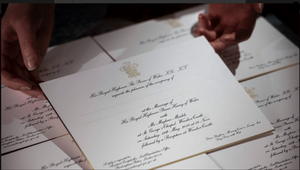 The Royal Wedding Invitatons to Prince Harry and Meghan Markle's Wedding