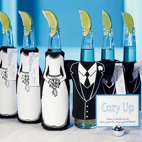 Tuxedo And Wedding Gown Bottle Sleeves