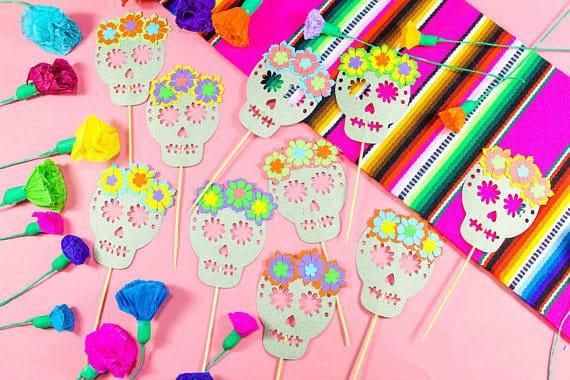 Sugar skull fiesta toppers