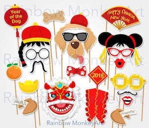 Chinese New Year Year of the Dog Photo Booth Props