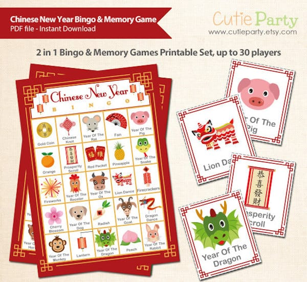 Printable Chinese New Year Bingo & Memory Game