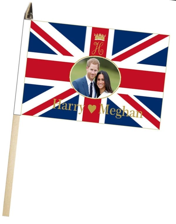 Prince Harry & Meghan Markle Wedding Engagement Large Hand Waving Courtesy Flag