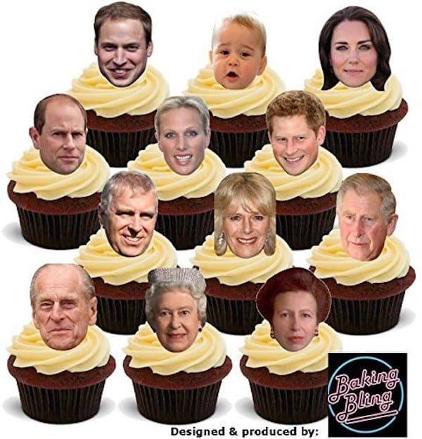 Royal Family Faces Edible Cake Toppers