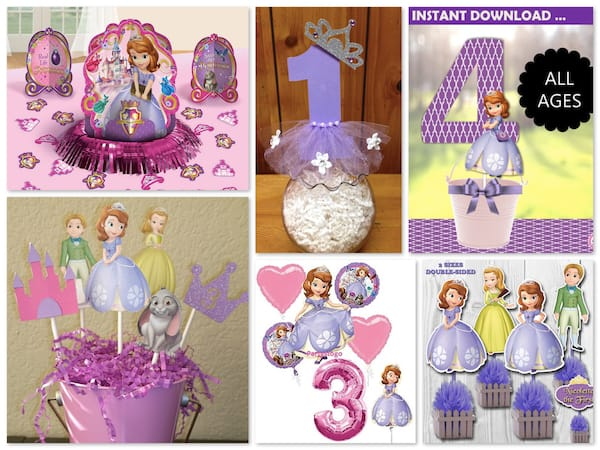 Sofia the First Birthday Party Centerpiece Ideas
